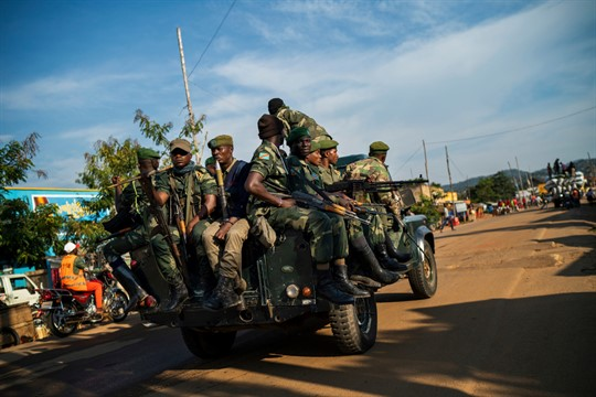 Congolese soldiers patrol the streets of Beni, Congo