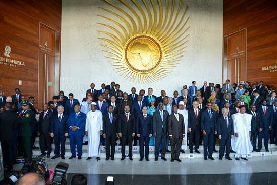 African leaders pose for a group photo at the opening session of the 33rd AU summit.
