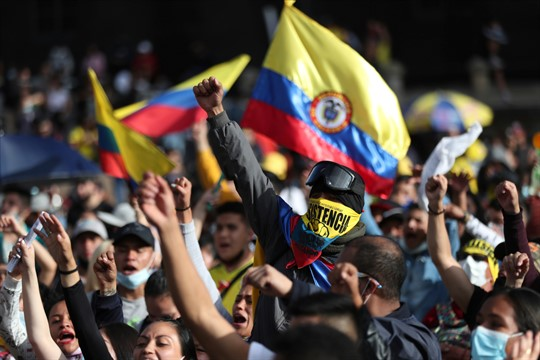 An anti-government protest in Bogota, Colombia