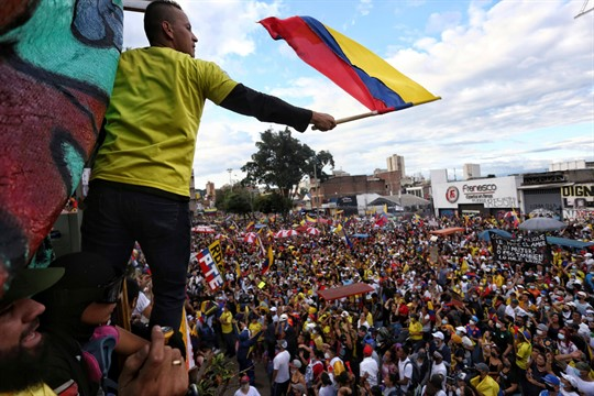 An anti-government march in Cali, Colombia