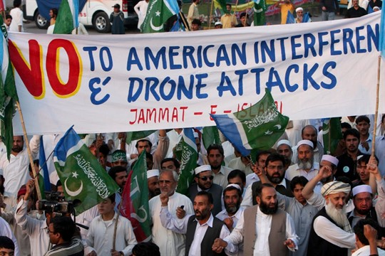 Supporters of Jamaat-e-Islami at a rally against U.S. drone strikes.