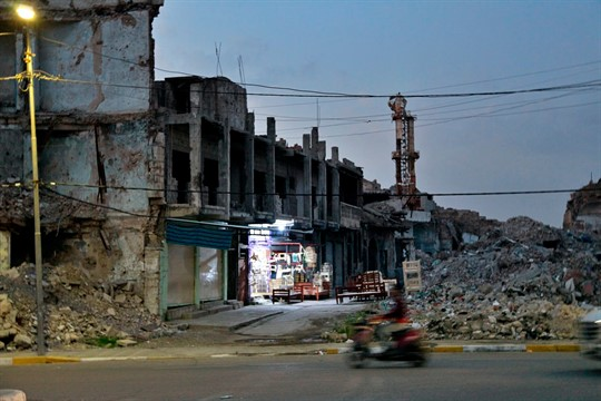 Mounds of rubble in the Old City of Mosul.