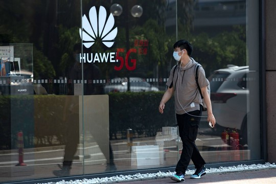 A Huawei store promoting 5G technologies in Beijing, China