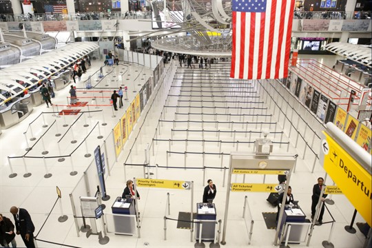 The empty area for TSA screening of travelers at the John F. Kennedy airport, New York.