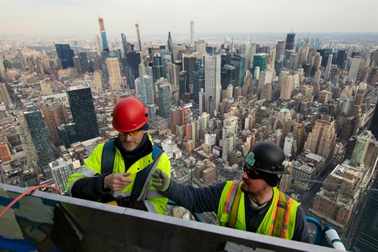 Work in progress on an outdoor observation deck on the 30 Hudson Yards office building