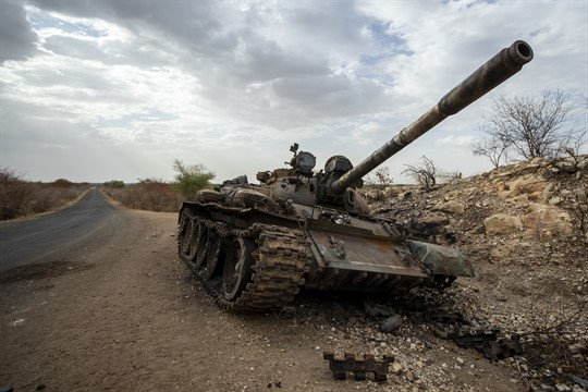 A destroyed tank by the side of the road in western Tigray.