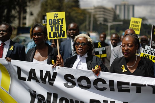 The Law Society of Kenya march in front of a court in Nairobi.