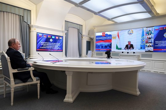 Russian President Vladimir Putin takes part in a virtual meeting with CSTO leaders about Afghanistan.