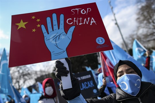 A protester from the Uyghur community living in Turkey