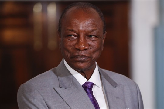 Guinean President Alpha Conde at the State Department in Washington, September 2019.