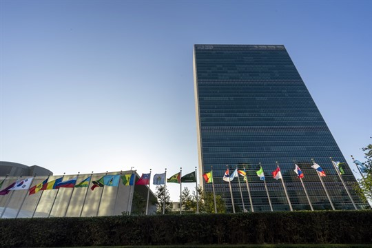 Member states' flags fly outside U.N. headquarters in New York.
