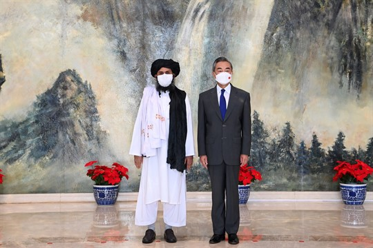 Chinese Foreign Minister Wang Yi meets with the Taliban's Mullah Abdul Ghani Baradar in Tianjin