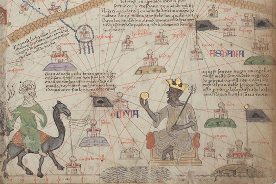Detail from the Catalan Atlas depicting Mansa Musa of the Mali Empire
