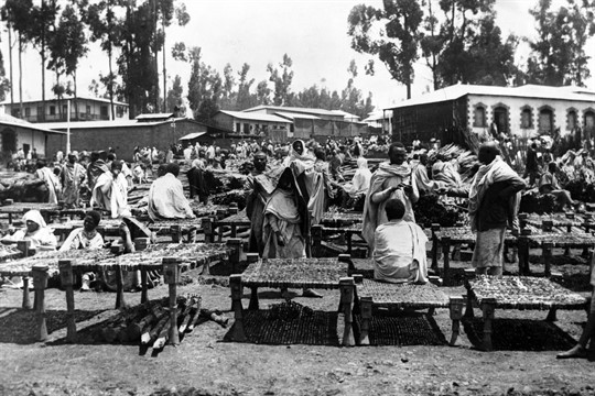 A bedstead market in Addis Ababa, the capital of what was then Abyssinia, in 1930