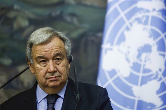 U.N. Secretary-General Antonio Guterres at a news conference in Moscow, Russia, May 12, 2021.