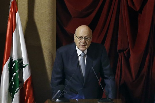 Lebanese Prime Minister Najib Mikati speaks duringing a parliamentary session to confirm the new government.
