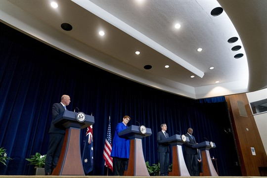 Australia's defense and foreign ministers alongside the U.S. secretary of state and defense secretary?