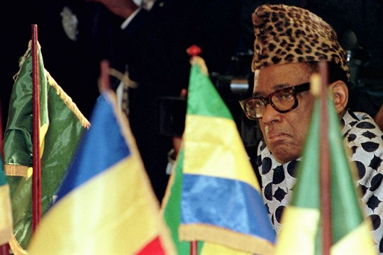 Then-Zairian President Mobutu Sese Seko at a press conference a week before relinquishing power.