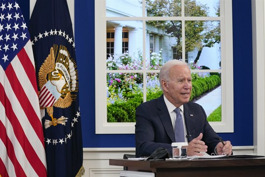 President Joe Biden attends a meeting with business leaders at the White House.