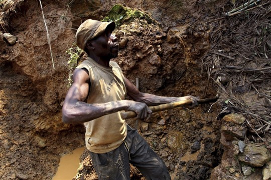 A Congolese miner at Nyabibwe mine, in eastern Democratic Republic of Congo.