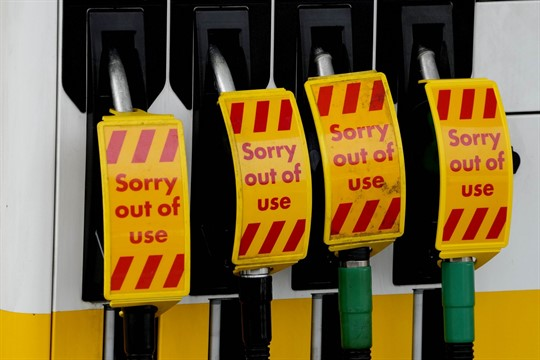 Closed fuel pumps at a gasoline station in London.