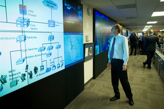 Large video displays in the Department of Homeland Security's National Cybersecurity and Communications Integration Center